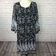 Roper Womens Sheath Dress Size L New with Tags Black White Floral 3/4 Sleeve P02
