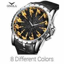 ONOLA Gold Luxury 12 Knight Dress Business Men's Watches EXCALIBUR Quartz Watch