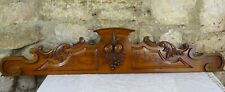 """42.5""""  Antique French Hand Carved Wood Cherrywood Pediment - Fruits"""