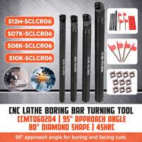 4 Set 7 8 10 12mm Lathe Turning Tool Holder Boring Bar+ 10 CCMT 060204 Inserts