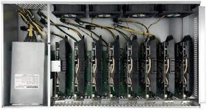 Ethereum ETH 8 GPU Miner Mining Rig Machine System with CPU 1800W PSU