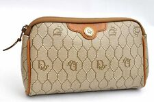 Authentic Christian Dior Honeycomb Pouch PVC Beige CD 98957
