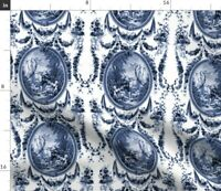 White Blue Floral Romantic French Rococo Baroque Spoonflower Fabric by the Yard