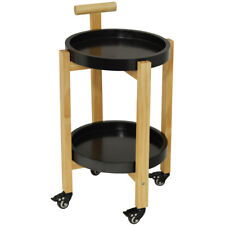 Wood Drinks / Tea Trolley Table with 2 Removable Trays - Black / Natural KI10020