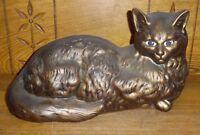 "Vintage Decorative Life Size Gold Painted Ceramic Cat - 12 3/4"""