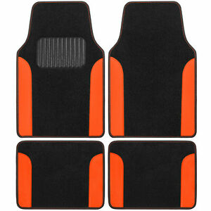 CarXS Carpet Floor Mats for Car SUV Truck Two Tone Color PU Leather Trim Orange
