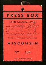 1950 Wisconsin v Ohio State Football Press Box Ticket Ohio Stadium 23671
