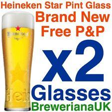 Set Of 2 Heineken Star Pint Glasses 20oz Brand New 100% Genuine Official