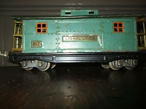PREWAR LIONEL LINES NO.817 CABOOSE (O), c.1926-42/PEACOCK BODY, DARK GREEN ROOF