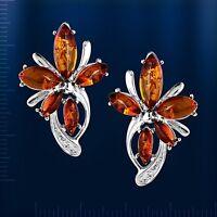 Russische Silber Ohrringe mit Bernstein Blume Silber 925° Neu Glänzend.