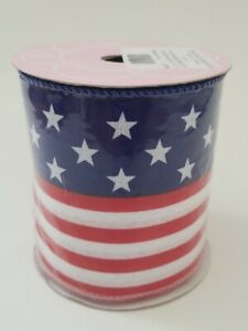 Independence Day Ribbon American Flag Wired Ribbon Roll 4 Inches X 10 Yards