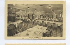 SS Paris Postcard - 2nd Class Dining Room / Salle a Manger - CGT French Line