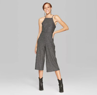 Womens Square Neck Knit Jumpsuit - Wild Fable - Black & Silver - NWT