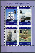 Chad 2019 CTO Captain James Cook Voyages 4v M/S Boats Ships Nautical Stamps