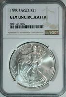 1998 American Silver Eagle Dollar $1 / .999 Pure / NGC GEM BU 🇺🇸