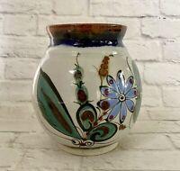 """Tonala Stoneware Pottery Vase Ken Edwards Signed  6 1/2"""" Bird Leaves Mexico"""