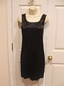 New in pkg FREDERICK'S OF HOLLYWOOD little black satin dress made in USA sz 9/10