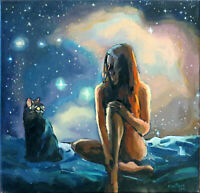 """16"""" Stary Night Sky Cat Teen Girl Young Women Dreaming Fantasy Art Oil Painting"""