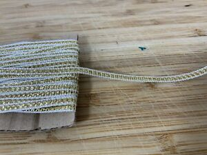 Thin Gold & WhitE Christmas Ribbon 3mm Xmas 2 Meters Craft Card Cake Hamper Bday