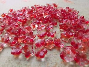 Czech small flower red pressed glass bead 7 mm pack of 30