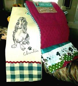 PIONEER WOMAN Charlie Basset Hound & Kari Diamond Kitchen Towel Sets - 4 towels