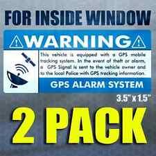 "GPS 2 pk INSIDE WINDOW ""BLUE"" 3.5x1.5 - Anti Theft STICKERS Security Alarm Decal"