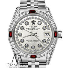 Ladies Rolex 26mm Datejust S/S Silver Dial with Ruby & Diamonds Accent Watch