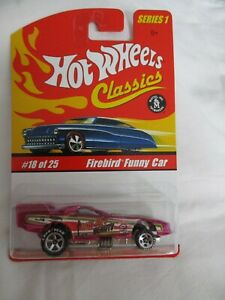 Hot Wheels Classics Series 1 Firebird Funny Car Pink Variation Mint In Card