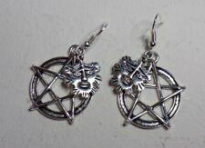 large Pentagram and Greenman earrings on 925 silver hook pagan wicca- Handmade