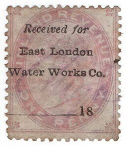 (I.B) QV Commercial Overprint : East London Waterworks