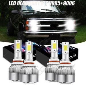 4x LED Headlight Bulbs Kit FOR 1994-98 Chevy C/K Pickup Silverado Suburban Tahoe