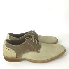 STACY ADAMS Beige Taupe Suede Oxfords Brogue Lace Up Casual Dress Shoes Men's 8