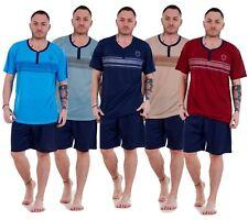 Mens Pyjama Set Shorts Jersey Cotton Tee V Neck Lounge Sleepwear M to XXL
