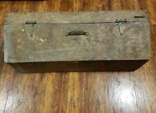 "Antique Primitive Vintage Wood Tool Box Handmade Carpenters 32"" long"