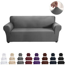 1/2/3 Seater Elastic Sofa Covers Slipcover Settee Stretch Solid Couch Protector