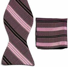 MT0054 Pink Black Bowtie Men's Wedding Tuxedo Self Bow Tie+ Match Handkerchief H