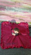 Carter's doll brunette love you pink RATTLE  Lovey Security Blanket Stripes Baby