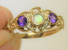 9CT  AMETHYST CABOCHON OPAL  RING THREE STONE 9 CARAT YELLOW GOLD SIZE M 1/2