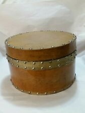 Antique Wooden Hat Box w Studded Metal Bands & Felt /Flocked Lining