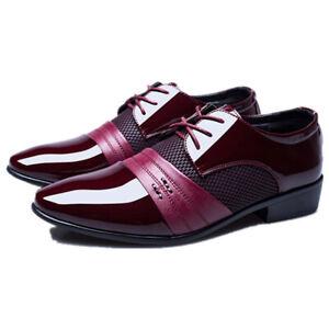 Business Men's Patchwork Formal Dress Suit Lace Up Shoes Patent Leather Oxfords