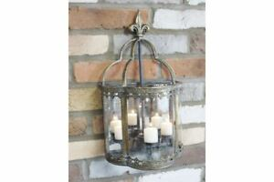 """""""Audley End"""" Ornate Wall Mounted Candle Lantern Finished in Aged Brass"""