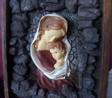 Vintage Wall Art Plaque Madonna and Child Wooden Frame, Rocks, Primitive Style