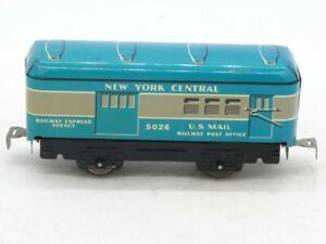 "Marx 5026 6"" Tin Litho New York Central RPO Combine Twist Tab Couplers"