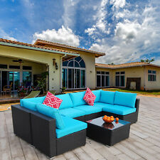 7 Pieces Patio Sofa Set Pe Rattan Outdoor Furniture Sectional Conversation Sofas