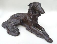 Jugendstil Figur Windhund Hund Barsoi Borsoi sign. F. Diller