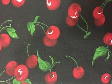 """Black Cherry Print Poly Cotton Fabric - Sold By The Yard - 59"""""""