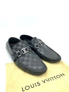 Louis Vuitton Hockenheim Black Damier Leather Loafers Moccasins Size 9.5 Men
