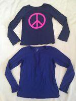 Lands End Gap Girls Shirt Lot Long Sleeve Peace Solid 10-12