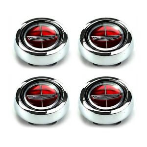 NEW SET OF 4 Torino Fairlane Falcon Comet Magnum 500 Red Ford Crest Wheel Caps