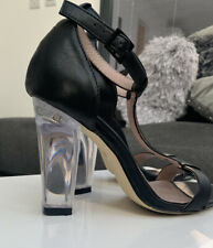 NEXT Perspex High Heel Leather Sandals. Size 5